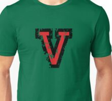 Letter V (Distressed) two-color black/red character Unisex T-Shirt