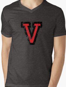Letter V (Distressed) two-color black/red character Mens V-Neck T-Shirt
