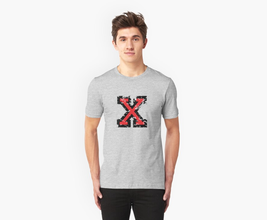 Letter X (Distressed) two-color black/red character by theshirtshops