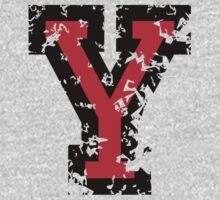 Letter Y (Distressed) two-color black/red character T-Shirt