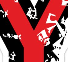 Letter Y (Distressed) two-color black/red character Sticker