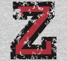 Letter Z (Distressed) two-color black/red character by theshirtshops