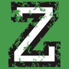 Letter Z (Distressed) two-color black/white character by theshirtshops