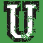 Letter U (Distressed) two-color black/white character by theshirtshops