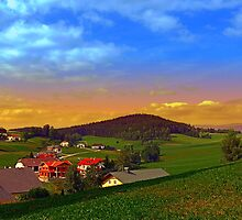 Small village skyline with sunset | landscape photography by Patrick Jobst