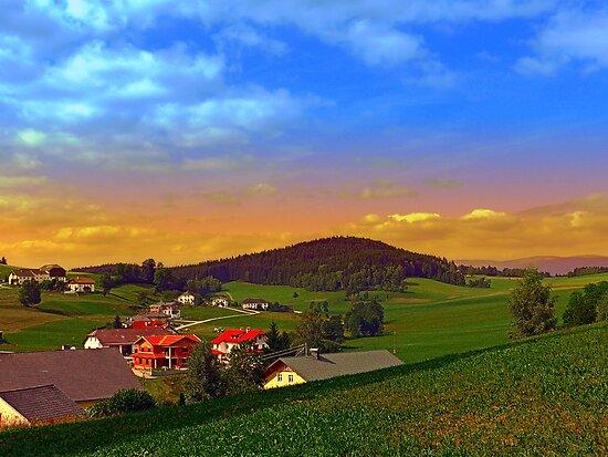 Small village skyline with sunset | landscape photography by Patrick Jobst