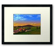Small village skyline with sunset | landscape photography Framed Print