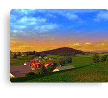 Small village skyline with sunset | landscape photography Canvas Print