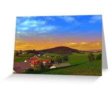 Small village skyline with sunset | landscape photography Greeting Card