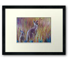 Kangaroos in Long Grass Framed Print