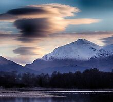 Ben Lui topped with lenticular clouds above by Islandsimages