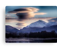 Ben Lui topped with lenticular clouds above Canvas Print