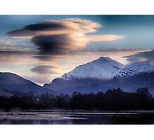 Ben Lui topped with lenticular clouds above Photographic Print