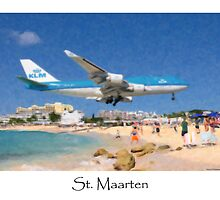 KLM Boeing 747 Landing St. Maarten - Digital Painting by William  Israelson