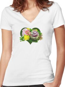 Sweetheart Bouquet Women's Fitted V-Neck T-Shirt