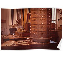 Old Time Woodworking Tools and Bench Vintage Poster
