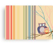Retro vintage owls Canvas Print