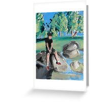 Boy on Rock in Pond Greeting Card