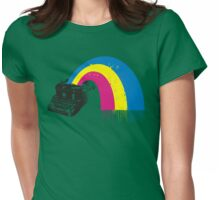 vintage typewriter kitschy retro rainbow Womens Fitted T-Shirt
