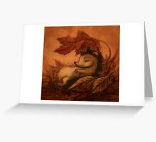 Hedgehog Sleeping Under Leaves Greeting Card