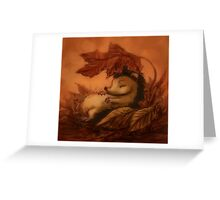 Hedgehog Sleeping Under Leaves Greeting Card