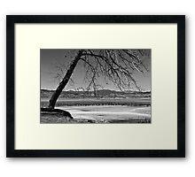 Longs Peak Geese BW Framed Print