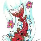 Koi in water by ProudToSketch