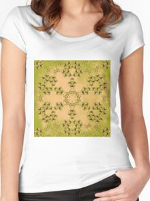 Kaleidoscope of Hay bales in a rural field Women's Fitted Scoop T-Shirt