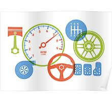 Car parts for kids who love cars Poster