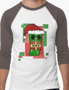 Minecraft Christmas Creeper  Men's Baseball ¾ T-Shirt