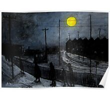 full moon and railway tracks Poster