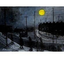 full moon and railway tracks Photographic Print