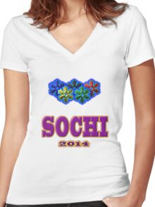SOCHI 2014 Tees and Stickers Women's Fitted V-Neck T-Shirt