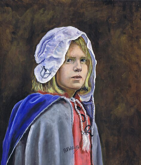 Girl in English civil war clothing by Phil Willetts