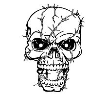 Barbed Wire Skull Photographic Print
