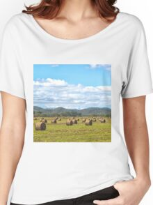 Hay bales in a rural field Women's Relaxed Fit T-Shirt