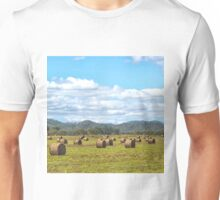 Hay bales in a rural field Unisex T-Shirt