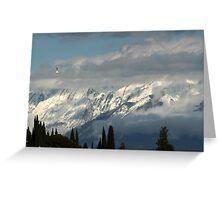 mountains with snow in winter Greeting Card