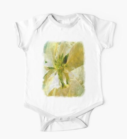Pale Yellow Poinsettia 1 Sketchy One Piece - Short Sleeve