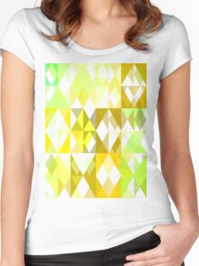 Pale Yellow Poinsettia 1 Abstract Triangles 1 Women's Fitted Scoop T-Shirt