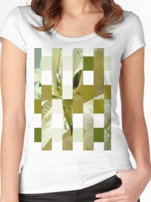 Pale Yellow Poinsettia 1 Art Rectangles 15 Women's Fitted Scoop T-Shirt
