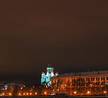Night landscape with church view by Eduard Isakov