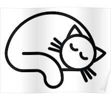 Sleeping white cat Poster