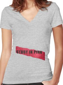 A Study in Pink fan poster Women's Fitted V-Neck T-Shirt