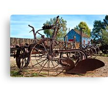 Antique Farm Equipment End of Row Canvas Print