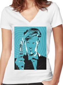 The Eleventh Doctor (Blue) Women's Fitted V-Neck T-Shirt