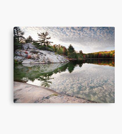 Autumn Nature Lake Rocks and Trees art photo print Canvas Print