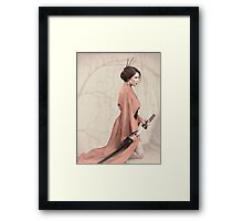 Asian woman in red kimono with a sword art photo print Framed Print
