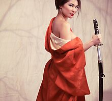 Beautiful asian woman unsheathing a sword art photo print by ArtNudePhotos