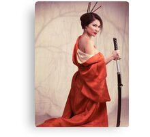 Beautiful asian woman unsheathing a sword art photo print Canvas Print